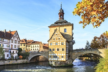 Bamberg Town Hall and River in Fall
